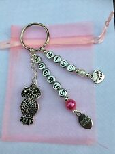 Personalised Special Teacher Thank you Gift Keyring- With Owl Charm -End of Term