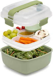 Lunch Box To Go Salad Container Leakproof Food Storage Bento Style BPA-FREE 48oz