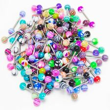50Pcs Mixed Colorful Balls Tongue Nipple Bar Ring Barbell Body Piercing Jewelry