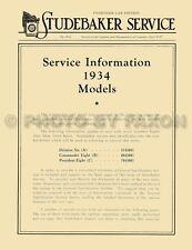 1934 Studebaker Shop Manual 34 Dictator Commander President Repair Service Book
