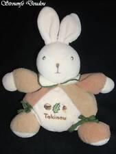 Peluche Doudou Lapin TAKINOU Boule Beige Brun Gland Hase rabbit Bunny TBE