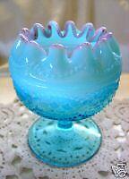 "MNT+PERF~ANTIQUE~c1903""NORTHWOOD GLASS""BLUE OPALESCENT""CRBRY FRIT""STEM""ROSE BOWL"
