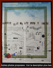 Saul Steinberg lithographie projet pour affiche Maeght vers 1970.