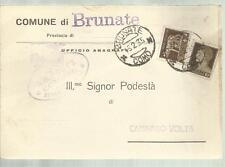 COMUNE DI BRUNATE  PROVINCIA DI COMO  PODESTA' CARTOLINA SPEDITA 1935