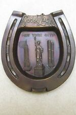 VINTAGE BRONZE NEW YORK CITY GOOD LUCK HORSESHOE TWIN TOWERS STATUE OF LIBERTY
