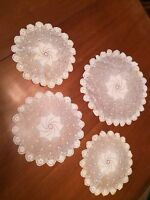LOT of 4  Hand Crocheted Matching Doilies Small Medium Large White