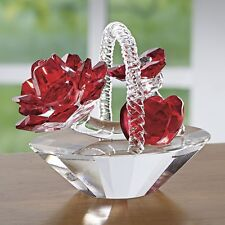 Crystal Red Hearts & Flowers Basket Figurine new In box deluxe Sale Floral