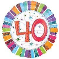 "ANAGRAM HELIUM QUALITY ROUND RADIANT FOIL BALLOON 40TH BIRTHDAY 45CM/18"""