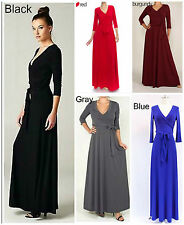 Janette Maxi Full Length Wrap Dress Boho Black Red Blue Plus Size S M L XL 1X 2X