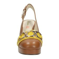 SIZE 7 ORLA KIELY BEATRICE TAN LEATHER PLATFORM SLING BACK WOMENS SANDALS XMAS