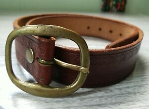 Vintage Brass Citrus Leather Belt Small to Large