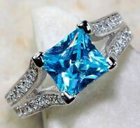 Flawless 3CT Aquamarine & Topaz 925 Solid Sterling Silver Ring Jewelry Sz 6, SC1