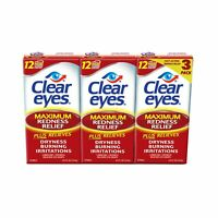 Clear Eyes Maximum Redness Relief Eye Drops Drying, Burning  0.5 oz  3 PACK