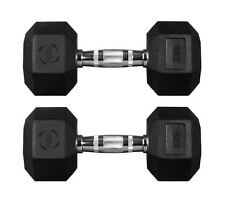 5 Kg Pair Hex Dumbbells Hexagonal Rubber Encased Weights Sets Gym Fitness Weight