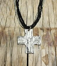 Sterling silver beaded cross necklace