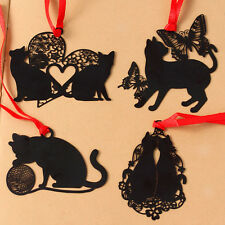 1pc Popular Black Small Cat Metal Hollow Animal Bookmark Book Paper Reading Cute