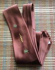 Silk Men's Tie:  Embroidered Details, Beautiful Brown! Pristine! R