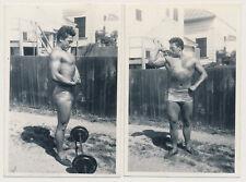 BEEFCAKE BODYBUILDER ASIAN MAN FLEXES MUSCLE PHYSIQUE vtg 40's photos GAY INT