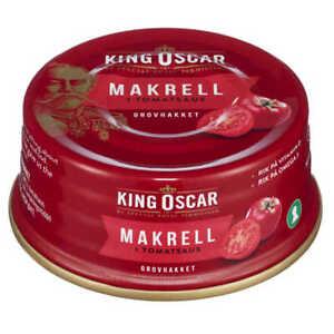 Norwegian Canned Food Fish Mackerel In Tomato King Oscar 6x100g Breakfast