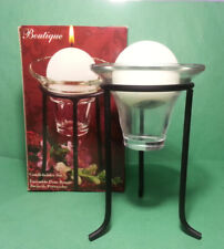 Boutique Candleholder Set 3pc Metal Stand Glass Holder and Candle