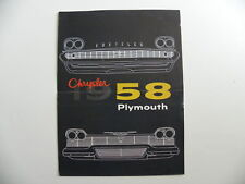 Brochure CHRYSLER PLYMOUTH 1958 en français