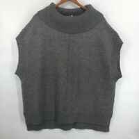 MOTH Womens Anthropologie Oversized Poncho Sweater Gray Sleeveless Ribbed Small