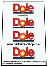 Precut Custom Stickers voor Lego Set 10219 - Maersk Train - DOLE Containers