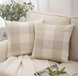 "Set of 2 Farmhouse Buffalo Check Plaid Throw Pillow Covers Cushion Cotton 22"""