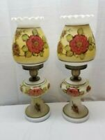 Vintage Pair Milk Glass White Floral GWTW Hurricane Table Desk Lamp Light 1940s