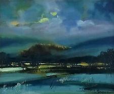 Evening winter landscape / Blue / Original Oil Painting by Hahonin 25x30cm