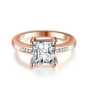 Ladies Brilliant Princess Cut Lab Diamond Rose Gold Filled Promise Wedding Ring