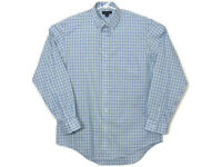 Lands End Mens Button Down Shirt 16.5-35 Traditional Fit Plaid Blue White Green