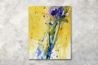 "Abstract Iris Flowers 16X20"" CP Print WAll Decor Oil Painting on CAnvas Artwork"