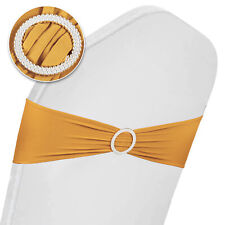 100Pcs Spandex Stretch Chair Cover Bands Bow Sashes Wedding Party Decor
