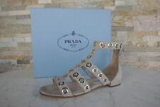 luxus PRADA Gr 37,5 Sandalen Schuhe Ziege Ösen 1X428G quarz beige NEU UVP 590 €
