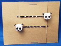 PANDA BEAR HEAD Animal Handmade Bobby PIn Hair clips - Set of 2