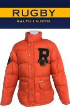 RAREST Ralph Lauren Rugby Men's insulated ORANGE Detachable Hoodie Bubble Coat