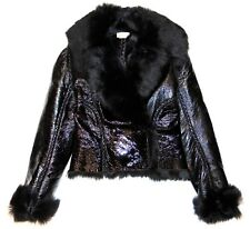 Alaia Black Patent Leather w/ Lamb Shearling Fur Seamed Short Jacket Size 40