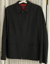 """JOSEPH Women's Minimalist Jacket L 38"""" Bust Grey Wool Zip Blazer Western Detail"""