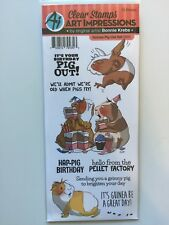Art Impressions CLEAR Rubber Stamp set GUINEA PIG OUT 5003 NEW