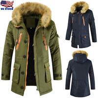 Men Hooded Long Coat Winter Warm Thick Hooded Fur Collar Jacket Outwear Parka US