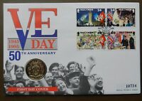 QEII ISLE OF MAN PNC COIN COVER 1995 VE DAY 50TH ANNIVERSARY £2 COIN