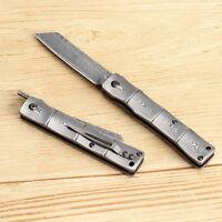 KATSU Handmade Full Damascus Steel Bamboo Style Japanese Folding Pocket  Knife