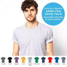 American Apparel Men's T-Shirt 12 Colours AA001 Unisex Fine Jersey Sizes S - XXL