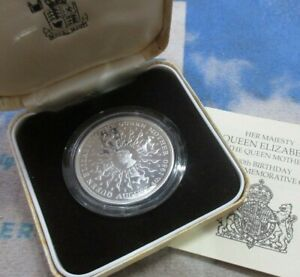 UK 1980 ROYAL MINT QUEEN MOTHER 80th BIRTHDAY SILVER PROOF CROWN COIN BOX & COA