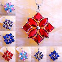 Multi-Color Rainbow Blue Topaz Ruby Spinel  Sapphire Quartz Gems Silver Pendant