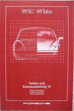 Prospekt Porsche Farben+Polster 911 911 Turbo Modelljahr 1981  - perfekt