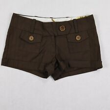 Charlotte Russe womens shorts brown buttons pocket size 5 cotton low rise