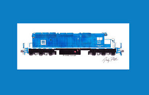 """Escanaba & Lake Superior SD40-2 #501 11""""x17"""" Matted Print Andy Fletcher signed"""