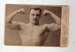Rare Early 1900 Cabinet Card Russian Bodybuilder, Weightlifter